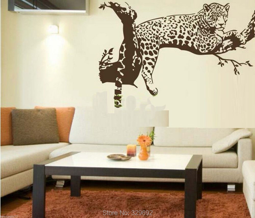 free shipping large leopard vinyl wall sticker home decoration animal wall decor wall mural wallpaper tx 033