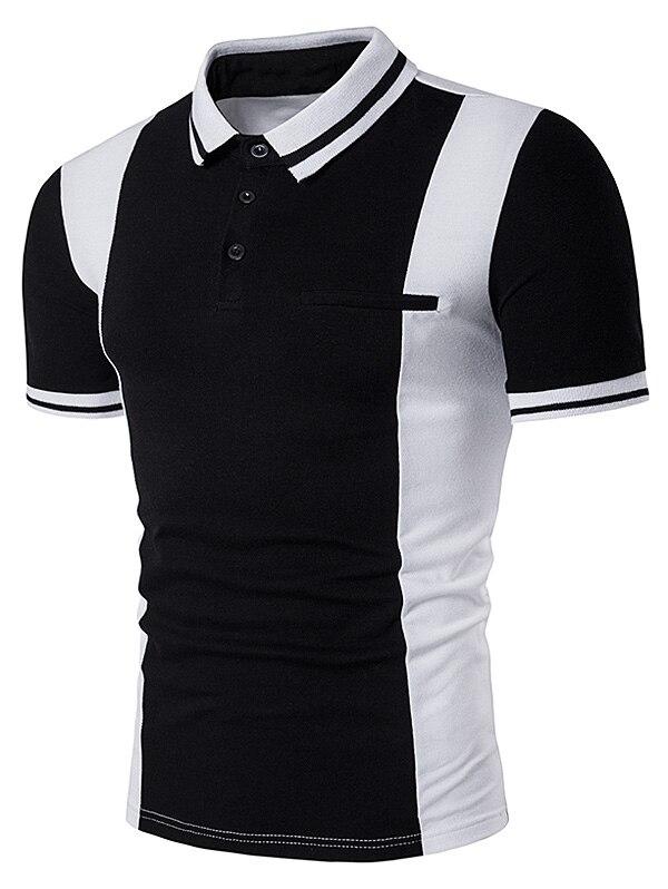 Mens Polo Golf Shirts Cotton T-Shirts Varsity Stripe Color Block Panel Design Polo T-Shirt Quick Dry Slim Men