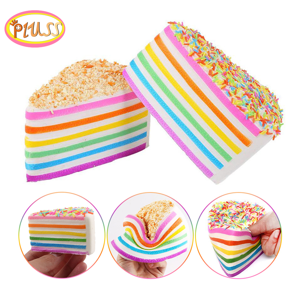 Cute Scented Cream Rainbow Cake Squishy Slow Rising Soft Squeeze Stuffed Antistress Soft Squeeze Charm Toys Kids