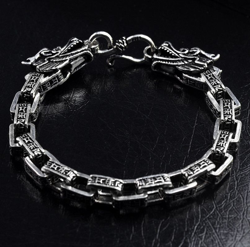 925 Solid silver Carved Buddha Lection Link Chain dragon Head Bracelet Hand Chain fenlu fl 083 double faced buddha head shaped bracelet silver
