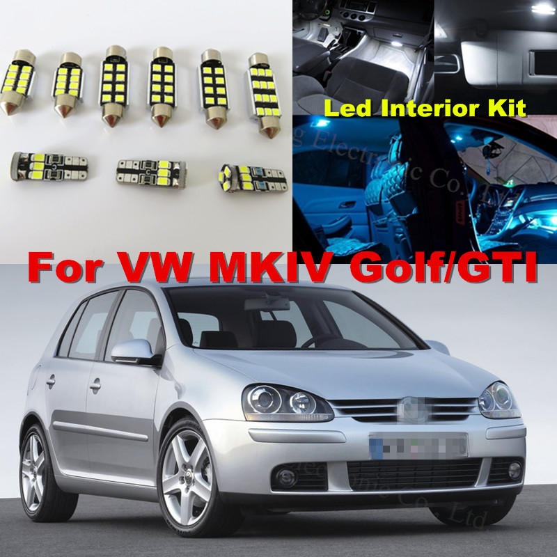 12x white crystal blue canbus car interior led light lighting kit for volkswagen vw golf mkiv. Black Bedroom Furniture Sets. Home Design Ideas
