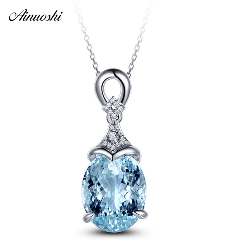 AINUOSHI Oval Cut 3 Carat Natural Topaz Pendant 925 Sterling Silver Genuine Light Blue Topaz Mermaid