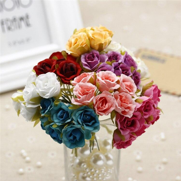 DIY Artificial hand bouquet, artificial silk rose flower wall decoration, flowers decoration party 6PCS/ Bouquet 2CM