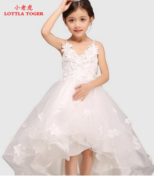 Glitz White Spaghetti Straps Princess Flower Girl Dress For Weddings Girls Party Pageant Dress With Long Train For Baby Girls