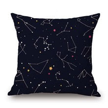 Dancing Girl Printed Linen Cushion Cover Dinosaurs Constellation Pillow Case Home Decorative Pillows Cover For Sofa Car Cojines