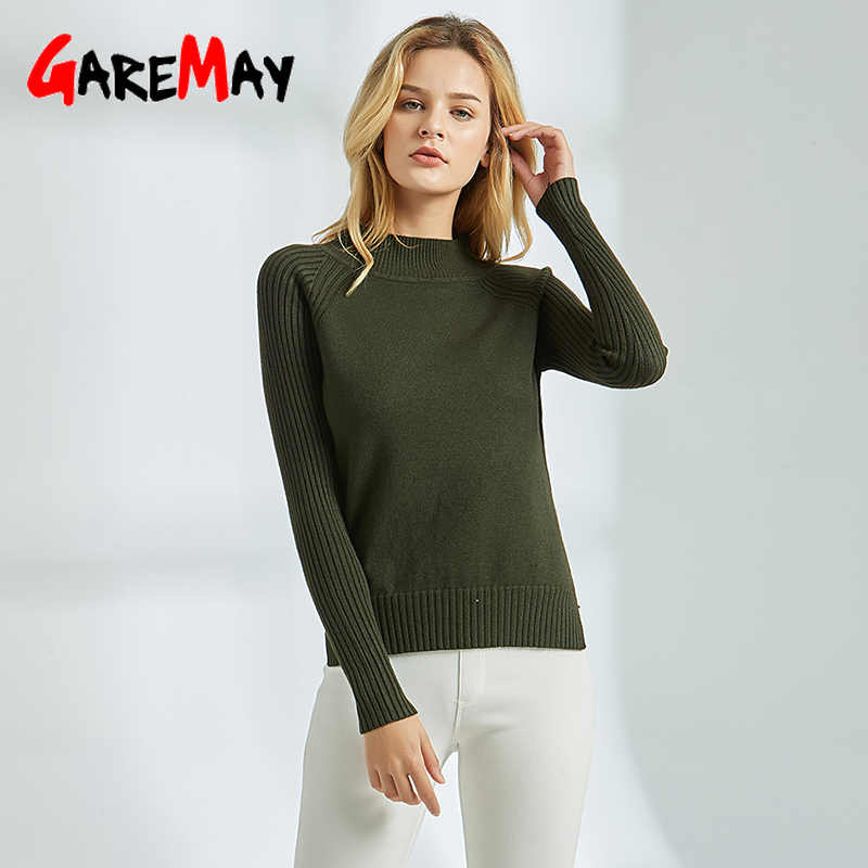 Green Sweater Women Knitted 2019 Jumper Casual High Neck Sweater Woman Thick Knit Winter Womens Pullover Long Sleeve Sweaters