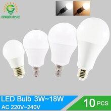 10 шт./лот светодиодный лампочка с регулируемой яркостью E27 E14 220 в 240 В светильник умная IC реальная мощность 20 Вт 18 Вт 15 Вт 12 Вт 9 Вт 5 Вт 3 Вт лампада светодиодный Bombilla
