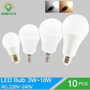 10 pièces/lot LED ampoule Dimmable lampes E27 E14 220V 240V ampoule Smart IC puissance réelle 20W 18W 15W 12W 9W 5W 3W Lampada LED Bombilla