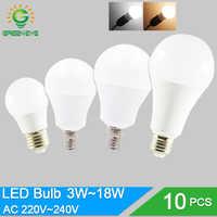 10 unids/lote Bombilla LED Bombilla regulable lámparas E27 E14 220V 240V Bombilla de luz inteligente IC poder Real 20W 18W 15W 12W 9W 5W 3W Lampada LED Bombilla