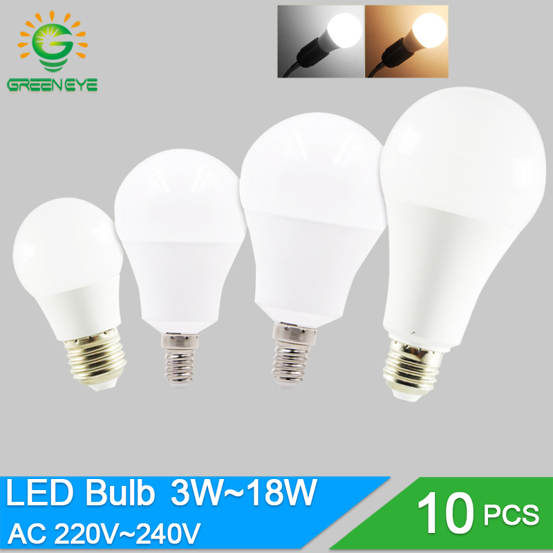 10pcs/lot LED Bulb Dimmable Lamps E27 E14 220V 240V Light Bulb Smart IC Real Power 20W 18W 15W 12W 9W 5W 3W Lampada LED Bombilla