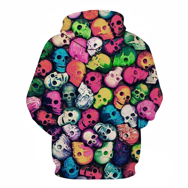 Colorful Skulls Hoodies 3D Prints Hoody Sweatshirt 2018 Street Style Tracksuit Pullover Mens Clothing Drop Ship ZOOTOP BEAR 1