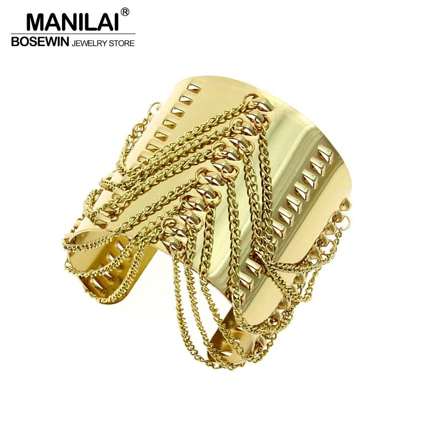 12781092801b2 MANILAI Punk Conception Femmes Vêtements Bijoux Accessoires De Mode Gland  Brillant Alliage Ouvert Manchette Bracelets Bracelets BL418
