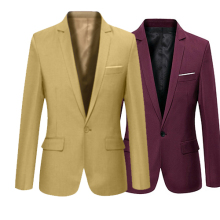 Men S Solid Color Step Collar Slim Blazer Formal Business Wear One Button Suit