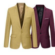 Men 'S Solid Color Step Collar Slim Blazer Formal Business Wear One Button Suit