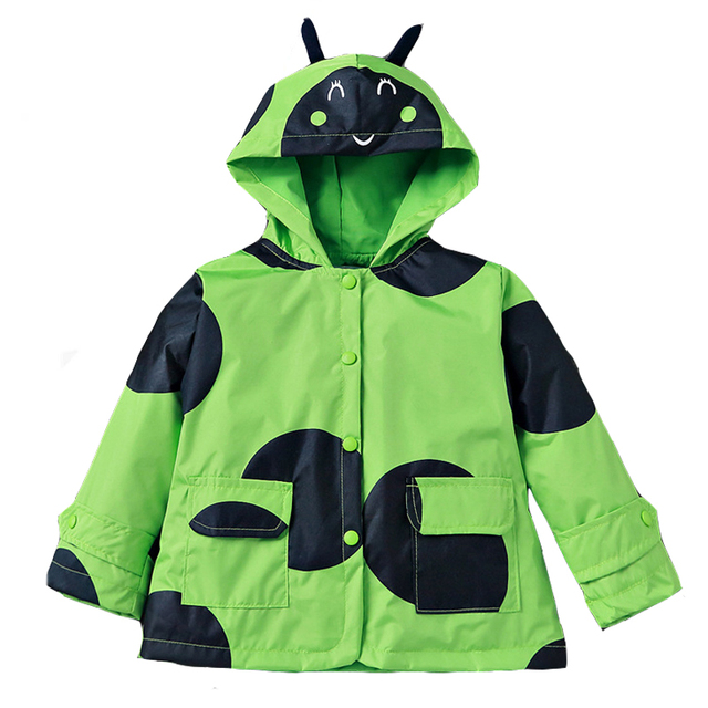 New Children Jackets Baby Boys Girls Cute Big Polka Dot Kids Hoodies Windproof Weatherproof Hooded Cartoon Chafers Coat tyh20747
