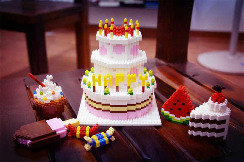 Superb Happy Birthday Cake Food Mini Diamond Building Blocks Bricks Toys Birthday Cards Printable Trancafe Filternl