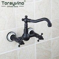 Bathtub Torneira Short Wall Mounted Oil Rubbed Black Bronze Swivel 360 Spout 97112 Bathroom Basin Sink