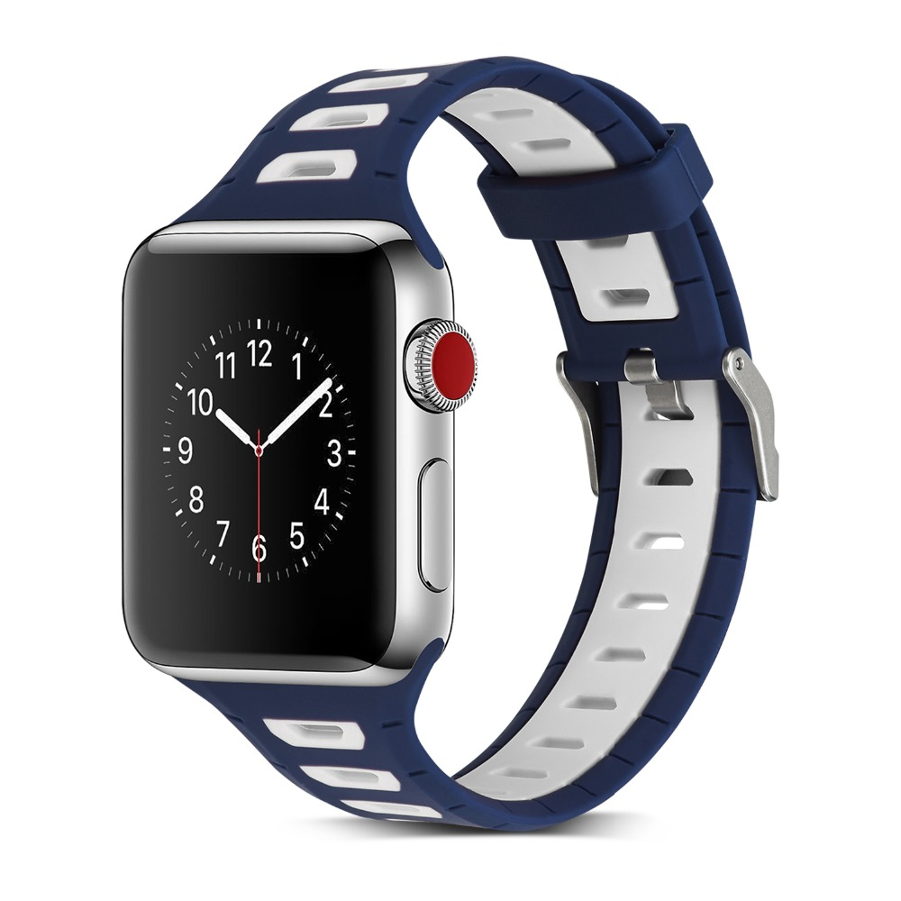 T Type Sport Silicone Band For Apple Watch 42mm 38mm 3 2 1 Bracelet For iWatch Wrist Replacement Rubber bands with Metal Buckle цена