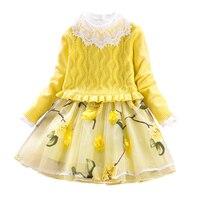 Children S Dress Set Girls Princess Suit Baby Sweater Coat Cotton Mesh Dress 2pcs Floral Clothing