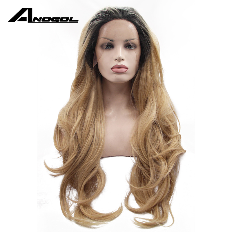 Anogol Ombre Blonde Lace Front Wig Dark Roots Glueless Synthetic Heat Resistant Fiber Natural Fully Hair