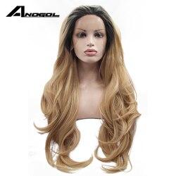 Anogol Ombre Blonde Spitzefrontseitenperücke Dunkle Wurzeln Glueless Synthetische Hitzebeständige Faser Natürliche Voll Haar Frauen-perücken Gewellte Lange