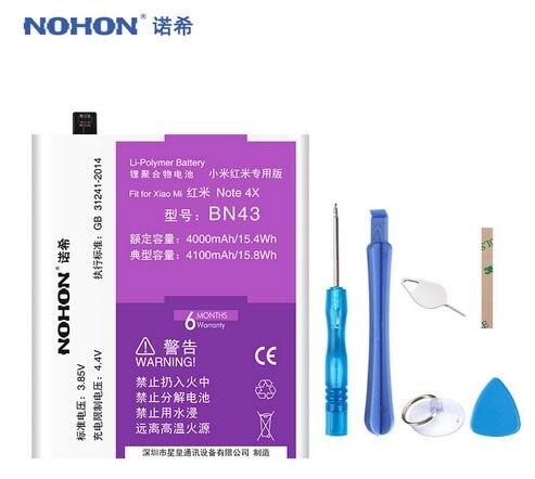 Nohon BN43 Batterie Pour Xiaomi Redmi Note 4X Snapdragon 625/Note 4 mondial Snapdragon 625 Hongmi Note4X 4100 mah paquet de vente au détail
