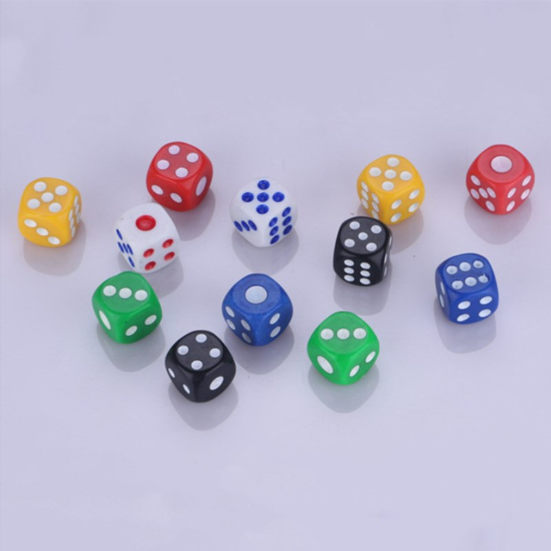 10PCS/Lot 6 Sided Portable Table Games Dice 14MM Multicolor Acrylic Round Corner Dice Board Game Dice Party Gambling Game Dice
