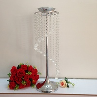wedding table decoration/home crystal candle stand party table wreath stand holder metal crystal stand (height 69cm)