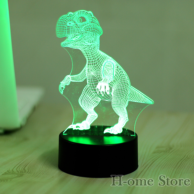 ᗐ7 Color Dinosaur Lamp 3D Visual Led Night Lights for Kids Touch ...
