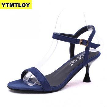 Black Blue Thin Belt Women Sandals High Heels  1