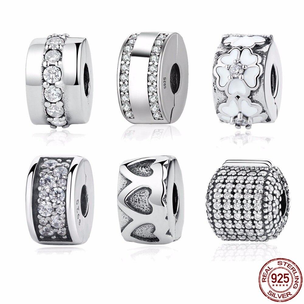 Authentische 925 Sterling Silber 9 Stile Pfad Clip Stopper Spacer Perlen Charms Fit PAN Charm Armband & Armreifen DIY Feine schmuck