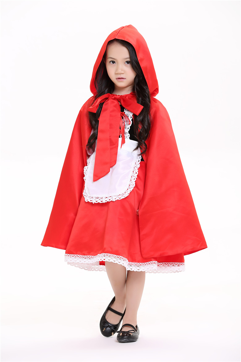 Kid Red Hat Red Riding little Hood Kid cute Jumpsuit Cosplay Costume Suit Dress Skirt Apron Cape for girl kid/children Full Sets