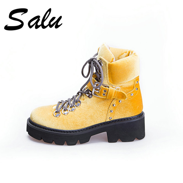 f02d9ad0954 Salu 2018 new Women Winter Boots Genuine Leather Female Shoes Warm Wool  Inside Wide Boots Snow Botas for Woman Wide Feet Shoes