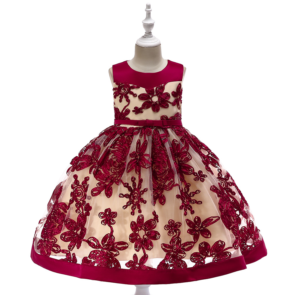 Princess Little Girls Party Dresses robe fille Applique Red Flower Girl Dresses Kids Pageant Gowns Lace Sleeveless Bow