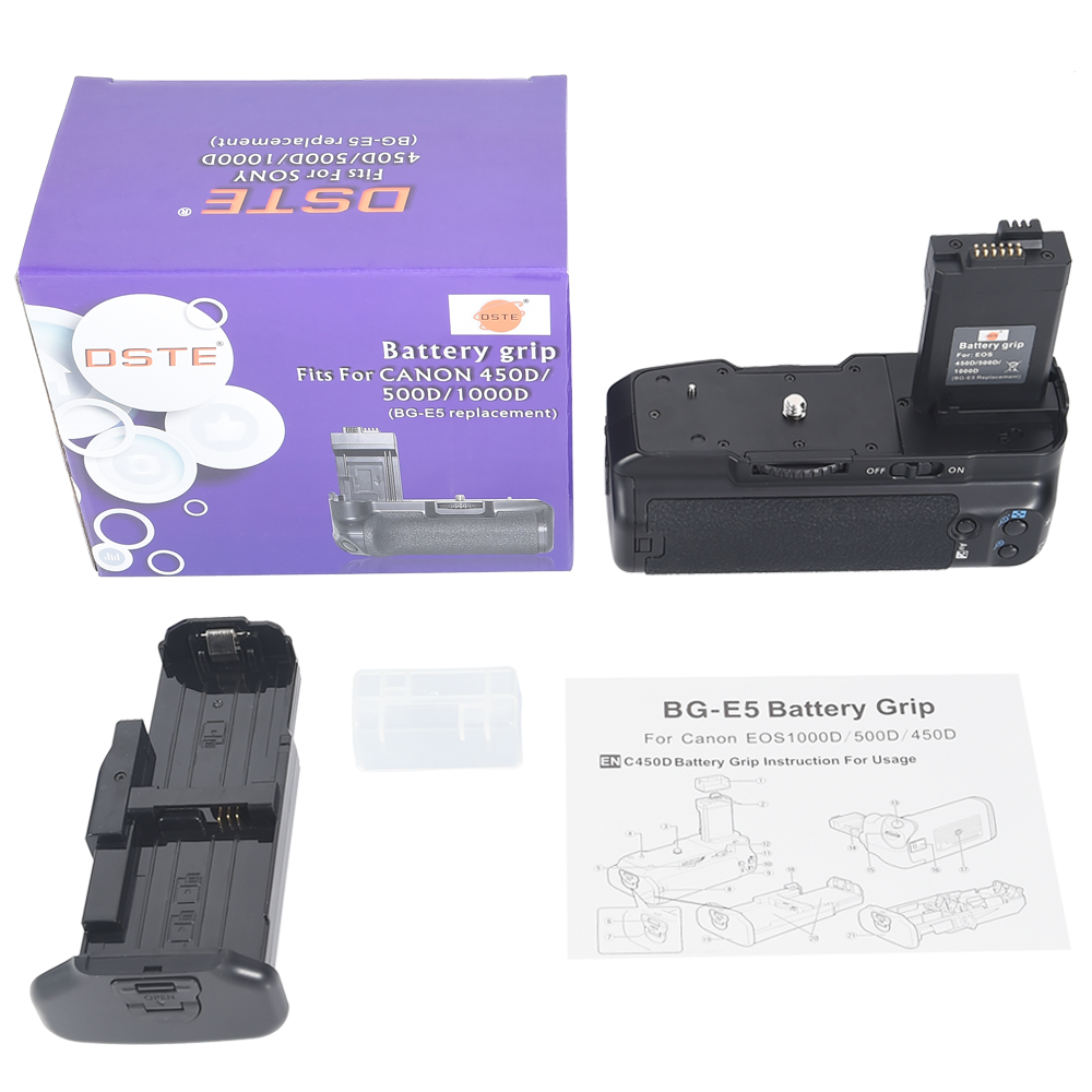 DSTE BG E5 Battery Grip for Canon EOS 450D 500D 1000D DSLR Camera|battery grip|grip for canon|battery grip for canon - title=
