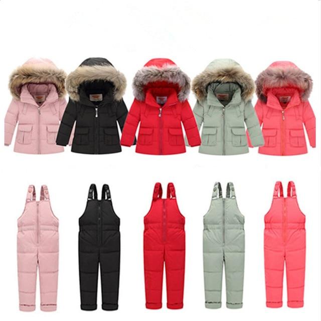 4aa4ce9b6 2018 conjuntos de ropa de niños de invierno ruso para niñas gruesa Parka  abajo chaqueta bebé