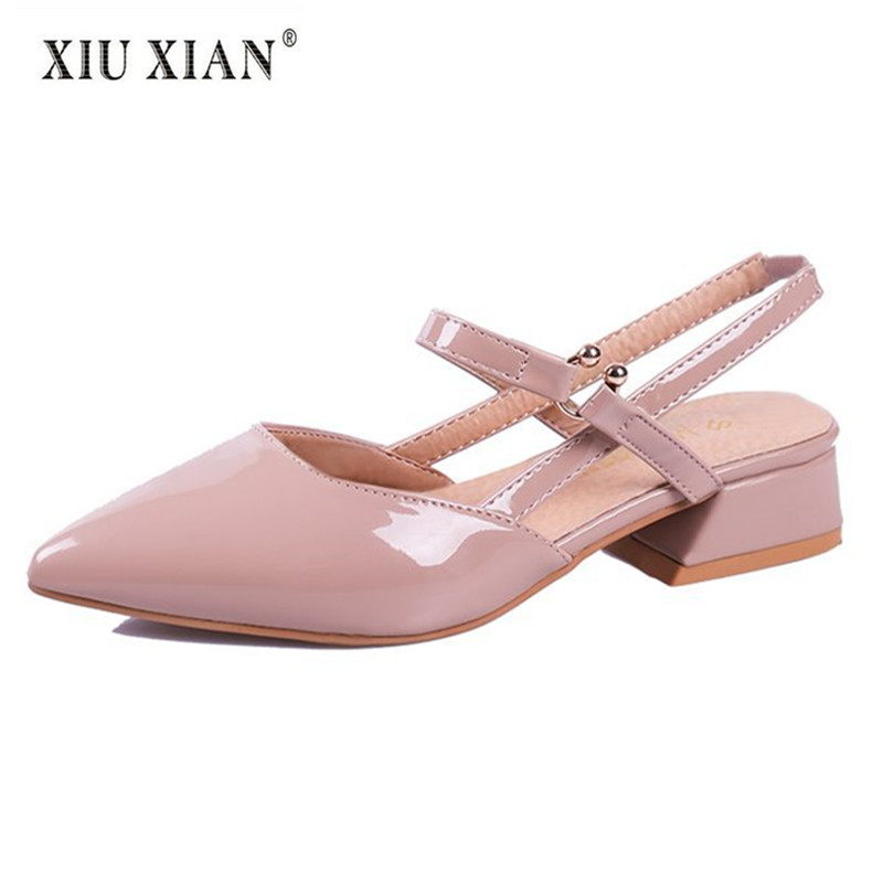 2018 New Pointed Toe Shallow Women Sandals Patent Leather Thick Low Heel Comfort Summer Travel Shoe Fashion Lady Casual Sandals 2018 summer new arrived strap design wedges women sandals peep toe comfort mid heel sexy lady sandal fashion student casual shoe