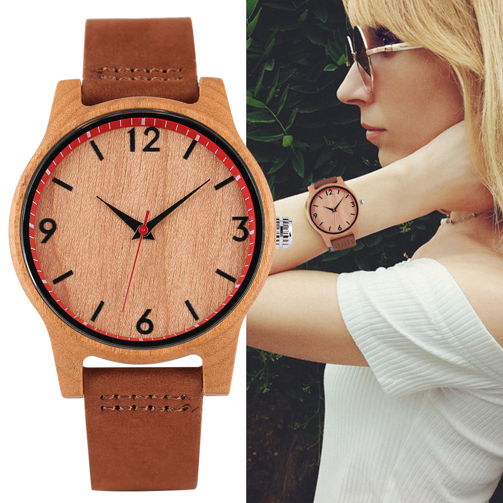 Women's Quartz Wooden Watch Leather Strap Wooden Wristwatch Lightweight(China)