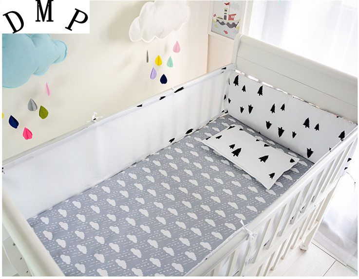 Promotion! 5PCS Mesh infant baby bedding nursery set,cot bedding set bumper crib set Bed Set,include(4bumpers+sheet)