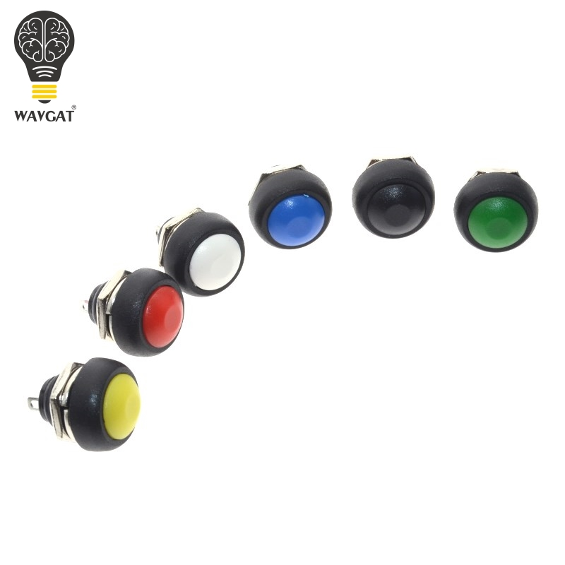 WAVGAT 6Pcs Mini 12mm Waterproof Momentary ON/OFF Push Button Round Switch PBS-33B