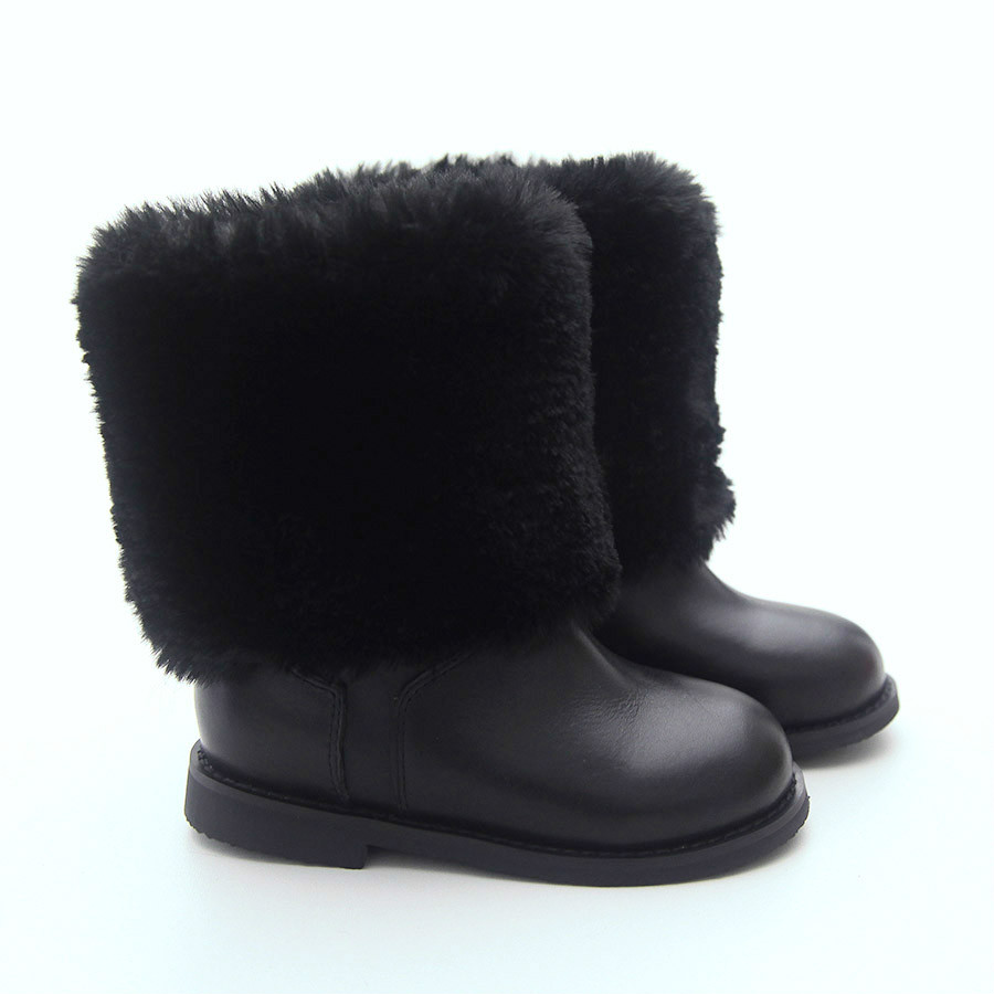New Plus Velvet Plus Hair Boys and Girls Casual Fashion Rabbit Fur Boots Warm Boots