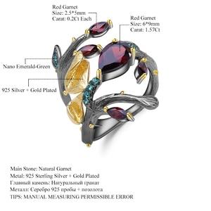 Image 5 - GEMS balet 925 srebro oryginalny Handmade motyl na gałęzi pierścień 2.37Ct naturalny czerwony granat pierścienie dla kobiet Bijoux