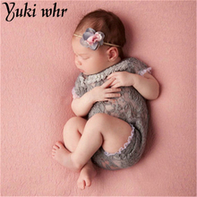 Newborn Short Sleeve Lace Playsuit Romper Baby Photography Props Baby Girl Princess Jumpsuit Infants Photo Props Photo Costumes newborn photography props baby lace romper with ribbon princess costumes set infant girls clothes yjs dropship