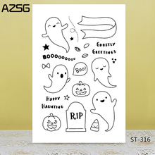 AZSG Halloween Simple Style Lovely Ghost Clear Stamps For DIY Scrapbooking/Card Making/Album Decorative Silicone Stamp Crafts