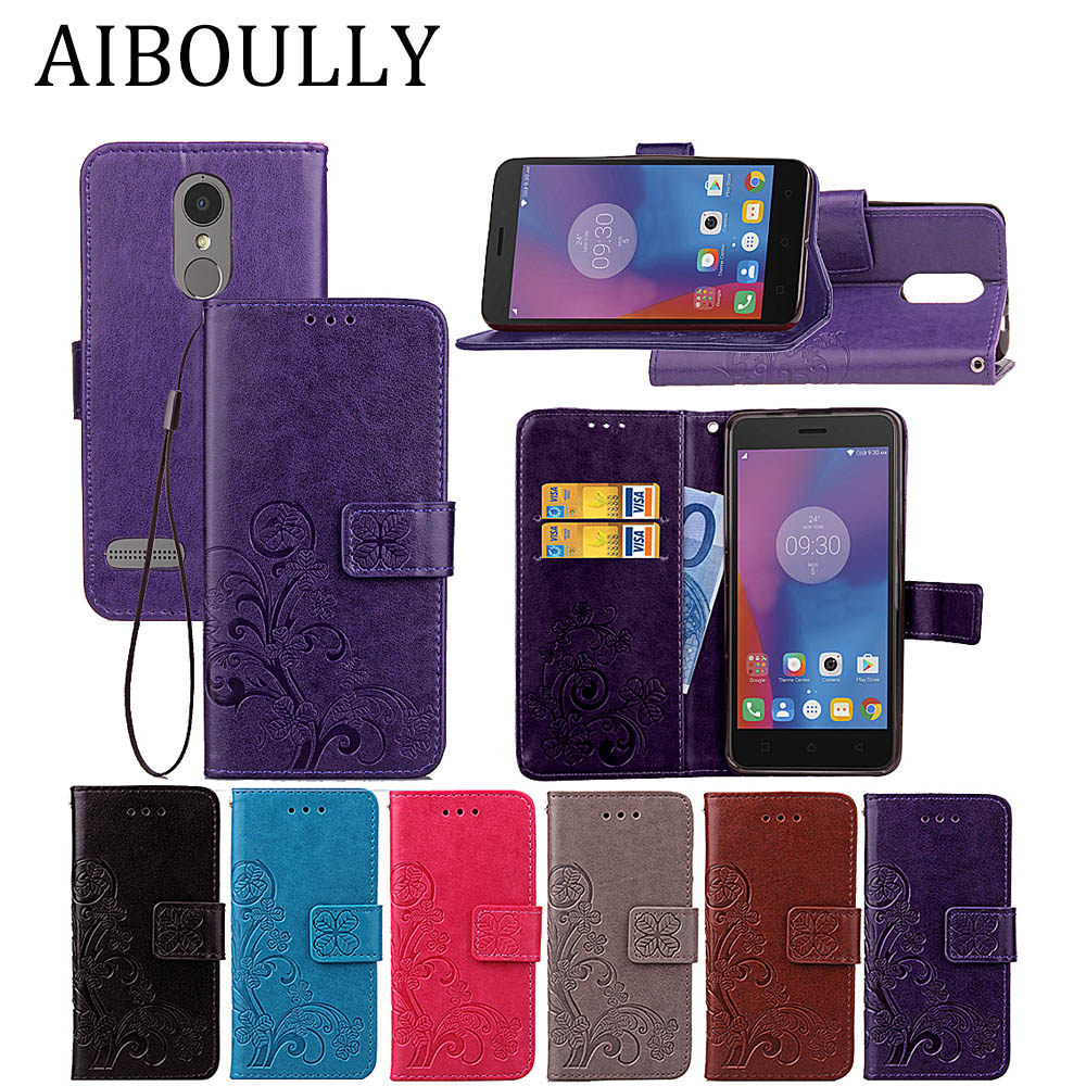 3D Leather Card Holder Stand Magnetic Flip Clover Wallet Covers For Lenovo K6 Dual SIM K6 Power 16GB 32GB 5.0 inch Phone Cases visa