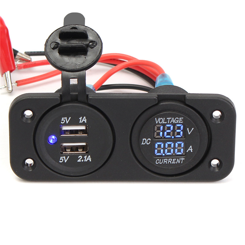 12V Dual Car Cigarette Lighter Socket 2 USB Adapter Charge Charger display Digital Voltmeter voltage ammeter + Screw