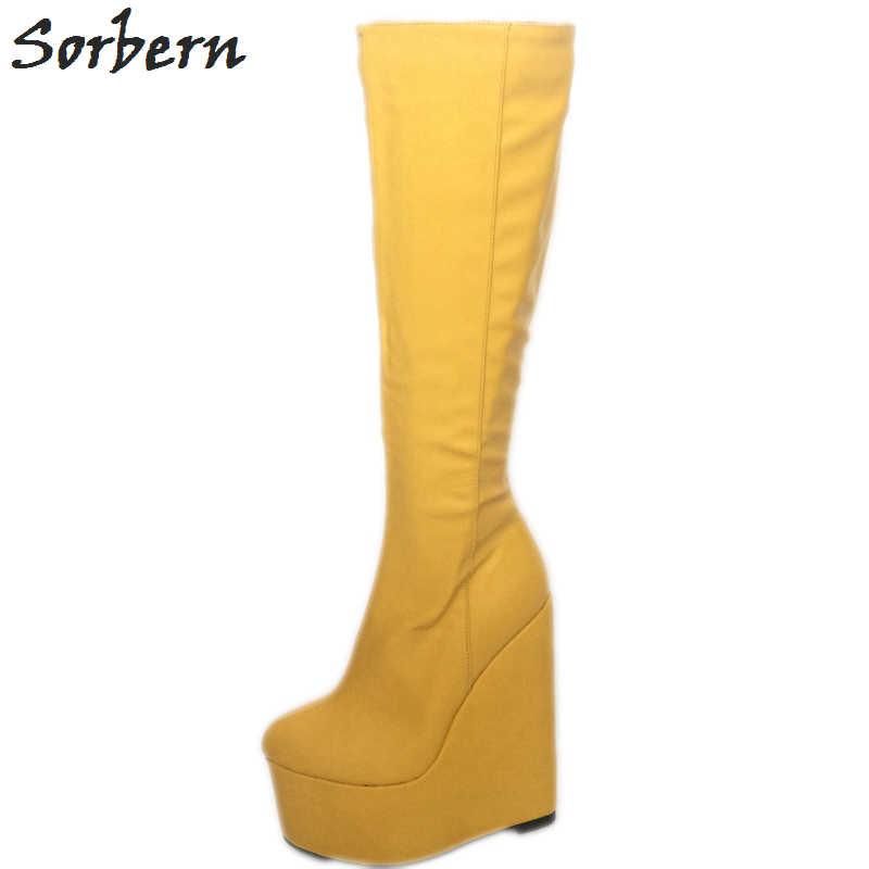 Sorbern sarı aşırı yüksek topuk kadın çizmeler takozlar kalın Platform ünlü kadın kışlık botlar tasarım ayakkabı kadınlar lüks 2017
