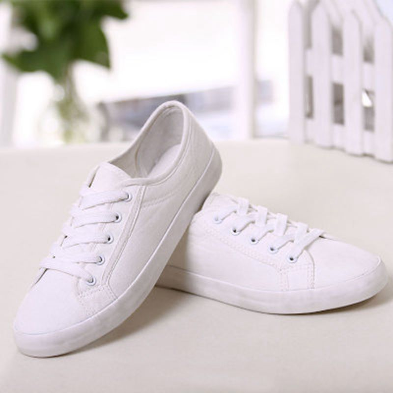 2017 solid color white canvas shoes for