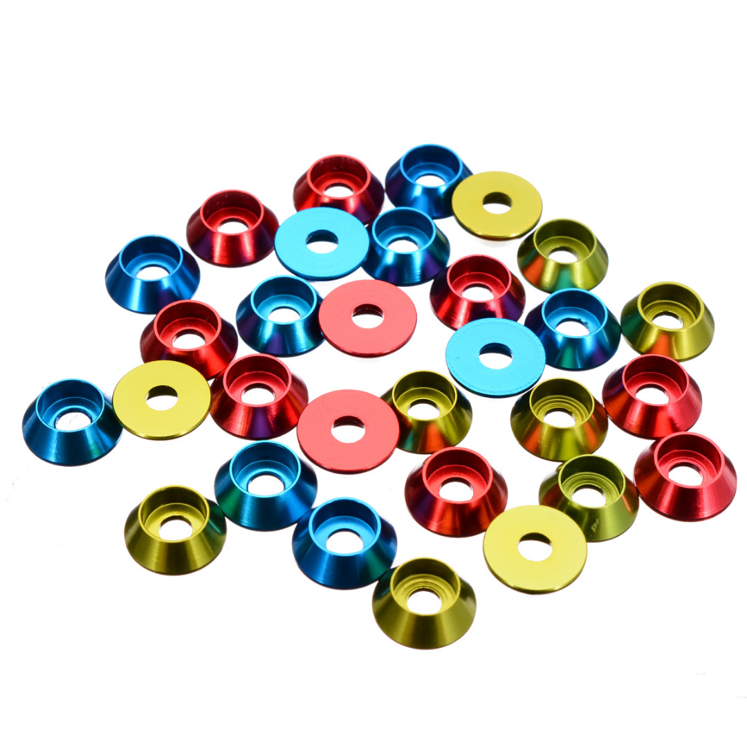 10Pcs/set <font><b>M3</b></font> <font><b>3mm</b></font> Alloy Aluminium Countersunk Washer Head Bolt Gasket For RC Car Model Red Blue Green image