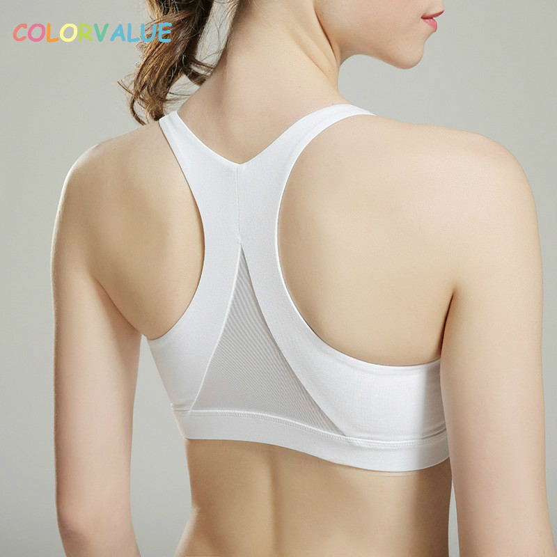 Colorvalue High Impact Yoga Bras Women Quick Dry Padded Running Bra Triangle Mesh Sports Bra Push Up Racerback Athletic Vest недорго, оригинальная цена